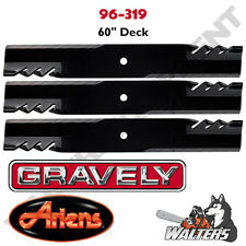 "Set of 3 Gator Blades 96-319 for Gravely & Ariens 60"" Deck"