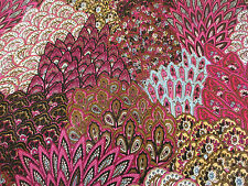Pink Feathers, Peacock feathers 100% Viscose Summer Printed Dress Fabric.