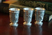 PEWTER SHOT GLASS HORSE EQUESTRIAN VINTAGE 3 SCENES BUGGY RACE RIDING CORNELL ?