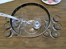 Dorothy Thorpe Style Roly Poly Punch Bowl Set Silver Rim Mid Century Modern