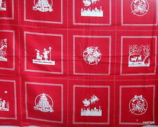 Vtg 80s Christmas cotton fabric panel block RED silhouettes Picture Book Patches