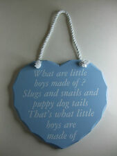 What are little boys made of? Blue Heart Shaped Plaque - BNIB
