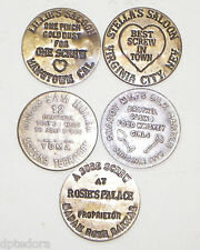 5 Solid Brass Brothel - Cat House Tokens Lot - 1
