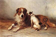 "SAINT BERNARD SMOOTH FOX TERRIER DOG ART PRINT ""Visiting Time"" by Henry Garland"
