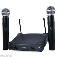 Pro Dual Wireless Cordless DJ Karaoke Public Party Mic Microphone System + 2 MIC