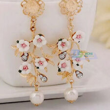 Fashion Baroque Style Branch Leaves Flower Pearl Golden Dangle Stud Earrings AA
