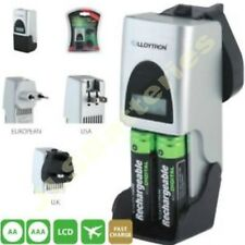 Fast Mains Travel Charger AAA AA Rechargeable Battery LCD UK Plug
