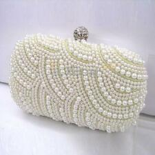 Handmade Beaded Pearl Evening Bag Clutch Crystal Purse Party Wedding Handbag New