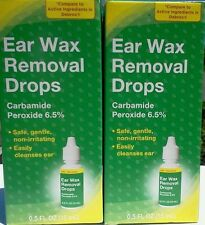 2 PK EARWAX REMOVER DROPS CARBAMIDE PEROXIDE 6.5% EAR CLEANSE Ear wax REMOVAL