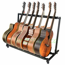 7 Guitar Stand - Multiple Seven Instrument Display Rack Folding Padded Organizer