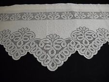 "ONE LACE CROCHET SCALLOPED BATTENBURG look SWAG VALANCE IVORY 58"" x 34""long"