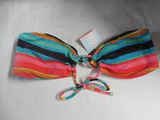 New Roxy Cheeky Adjustable Bandeau Women Swimwear Bikini Top Small Multicolor
