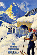 The Golden Pass Route MOB Switerland Travel Train Ski  Poster Print