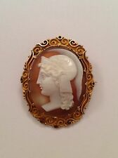 Fine Victorian 15ct Gold Mounted Carved Shell Roman Warrior Cameo Brooch