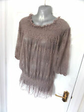 ❤ REPEAT Gorgeous Ladies Size 14 Mushroom Lace Stretch Blouse Top Elastic Hem