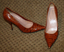 MIU MIU Brown Python Gator Snake Embossed Leather Heels Shoes Pumps 39 8 8.5