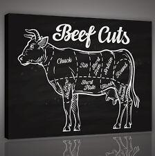 CANVAS WANDBILD LEINWANDBILD POSTER  Küche  Tier Kuh Beef Fleisch   3FX10321O4