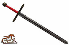 Large Red EXCALIBUR Wooden 2 Handed Sword for Children/Kids Hand Crafted Toy