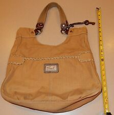 Large Tan Canvas Fossil Handbag Tote Purse AS IS READ