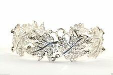 Vintage Sterling Silver 925 Germany Filigree Leaf Leaves Link Bracelet