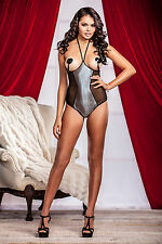 Cupless mesh halter teddy with metallic hologram dot center front detail.