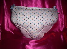 Adult Sissy Baby Puffy Fluffy Huge Pantie Diaper Waddle Blue Print Blue Ribbons