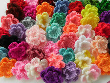 100! Double Crochet Wool Flowers  - Great Colour Mix Flower Applique - 2.5cm/1""