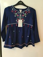 BNWT Girls Monsoon Embroidered /mirror Top With Tassels Aged 4 Years