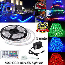 5M 5050 RGB LED Strip Light Power Supply Adapter 44Key IR Remote Waterproof Kit