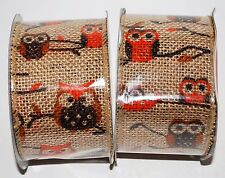 Jute Beige Wired Burlap Ribbon 2 Rolls (2.5 in x 15 ft) Owls Orange Brown