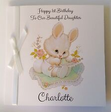 Personalised Bunny Rabbit 1st Birthday Card, Daughter Granddaughter, Goddaughte