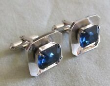 Men Vintage FACETED ROYAL BLUE CRYSTAL CUFFLINKS Jewelry H52