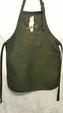 Moluccan Cockatoo Parrot, Bird Embroidered on A Hunter Green Apron
