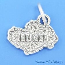 IRELAND EIRE IRISH COUNTRY MAP .925 Solid Sterling Silver Charm 15mm MADE IN USA