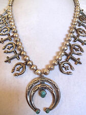Vintage NAVAJO Sand Cast Sterling Silver & Turquoise SQUASH BLOSSOM Necklace