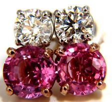 █$12700 GIA 3.84ct natural pink sapphire diamond stud earrings 18kt 100% match
