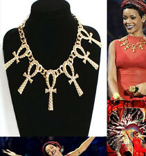Hot Selling Occident Fashion Wild Golden Cross Super Star Statement Necklace