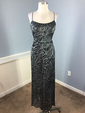 Nicole Miller S 6 Formal gown Ocassion Dress Silk Gray Black Long Maxi Excellent