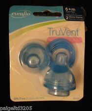 Evenflo TruVent Silicone Nipples 6+Mos. Fast Flow 1201311, pack of 2