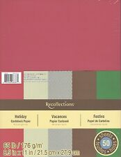 """New Recollections 8.5x11"""" Cardstock Paper Holiday Christmas Red, Green 50 Sheets"""