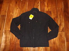 NWT Mens Levis Black Trucker Quilted Lined Jacket Coat Size S Small