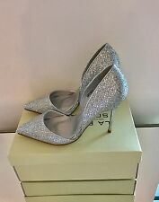 La Bottine Souriante Bond Style Silver Glitter High Heel Court Shoes Size 4 37