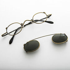 Small Round Clip on Vintage Sunglass & RX Optical Frame Bronze-Ansel