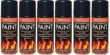 6 x Heat Resistant Matt Black Spray Paint High Temperature Self Priming 200ml