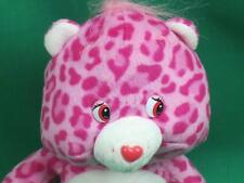 LEOPARD PRINTED LOVE A LOT CARR BEAR PINK TWO HEARTS PLUSH STUFFED ANIMAL