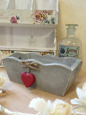 Small Wooden Grey Trug Box Red Hearts Shabby Rustic Vintage Storage Weddings