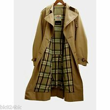 BRITISH Mens Vintage Mac Trench Weather Coat DB Long Tan Plaid Lining 38 England