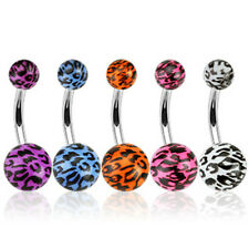 B#196 - 5pcs Leopard Print 14g Belly Rings Navel naval 316L Surgical Steel