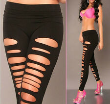 Black Front Cut Out Ripped Hole Soft Stretch Leggings Yoga Pants One Size NEW