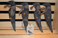 4 Grungy Stuffed Muslin Old Black Primitive CROW Ornies Fillers Tucks & Hang Tag